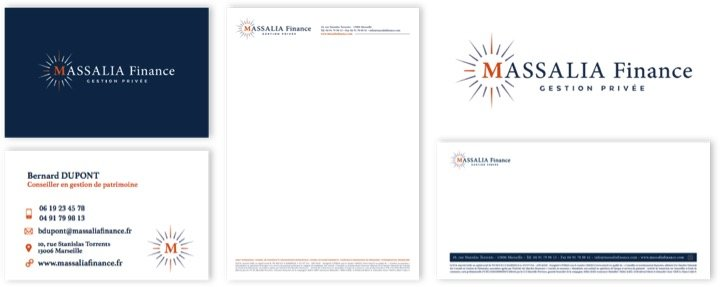 Massalia Finance Papeterie refonte graphique